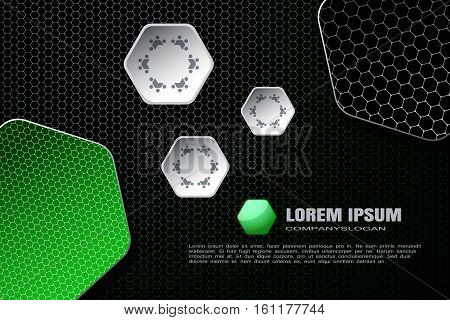 Vector hexagon gradient white and green mesh background with hexagon green and gray shapes.
