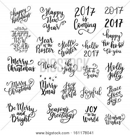 Happy New Year And Merry Christmas Hand Lettering Set For Greeting Cards. Vector Winter Holiday Wish