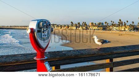 Binoculars in Newport Beach pier in California