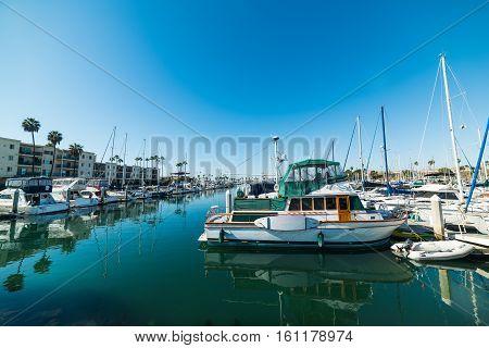 some boats in Oceanside harbor in California