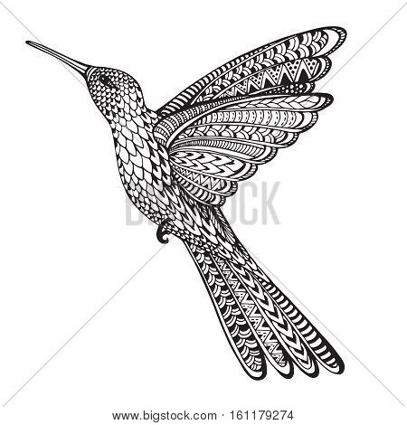 Hand drawn abstract flying colibri in ornate doodle style isolated on a white background. Ornamental hummingbird. Black and white vector illustration.