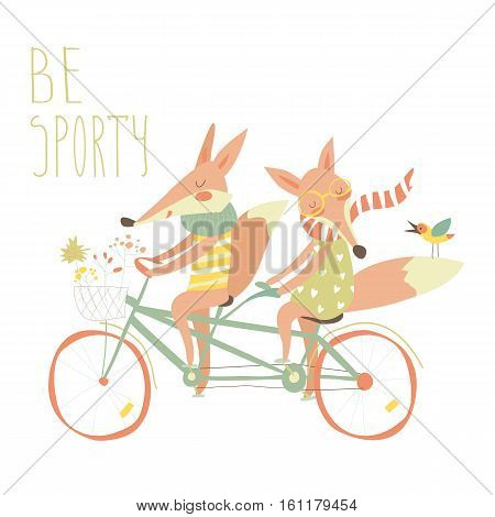 Cute couple foxes ride tandem bicycle.Vector illustration