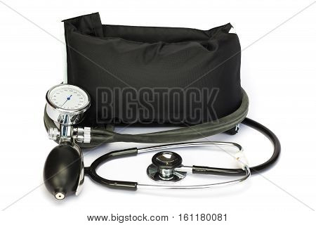 Black professional blood pressure meter isolated on white background