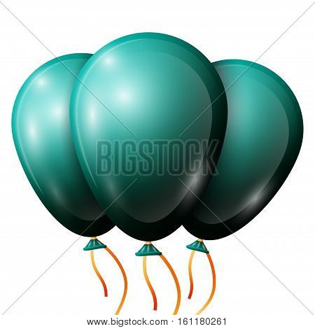 Realistic jade balloons with ribbon isolated on white background. Vector illustration of shiny colorful glossy balloons
