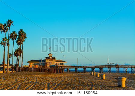 Newport Beach pier at sunset in California