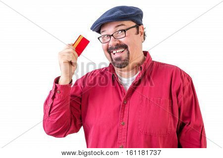 Middle-aged Bearded Man With His Credit Card