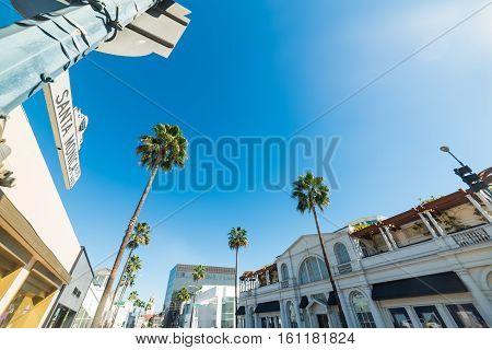 Santa Monica boulevard sign in Beverly Hills California poster