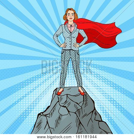 Pop Art Confident Business Woman Super Hero in Suit with Red Cape Standing on the Mountain Peak. Vector illustration