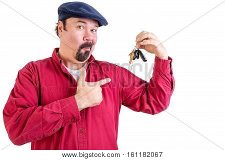 Jaunty Proud Big Man Pointing To His Car Keys
