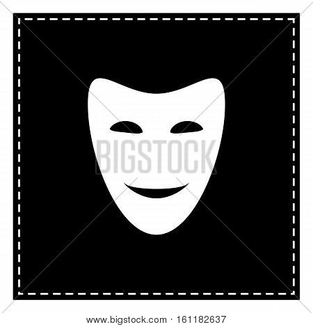 Comedy Theatrical Masks. Black Patch On White Background. Isolat