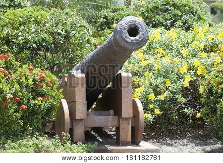 The cannon among flowers in Belize City park (Belize).