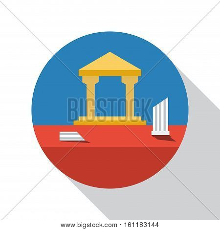 Vector sign archaeological site flat design, isolated on white