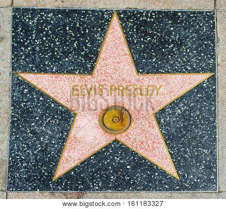 LOS ANGELES CALIFORNIA - NOVEMBER 2 2016: Elvis Presley star in Hollywood walk of fame