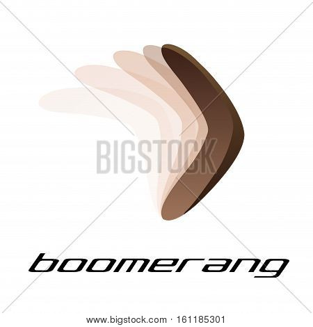 Vector sign boomerang in fly, isolated illustration