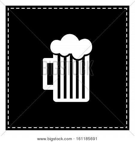 Glass Of Beer Sign. Black Patch On White Background. Isolated.