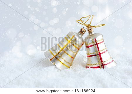 Christmas bluebells on snow. Christmas festive background