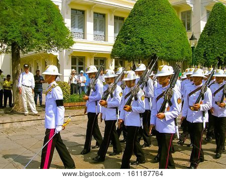 Bangkok Thailand - June 30 2008: Change of the guard of honor at the Royal Palace on June 30 2008 in Bangkok.