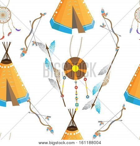 Seamless pattern in ethnic style subjects and objects of American Indians
