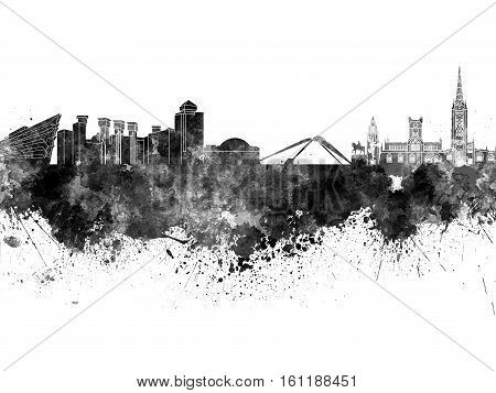 Coventry skyline in artistic abstract black watercolor
