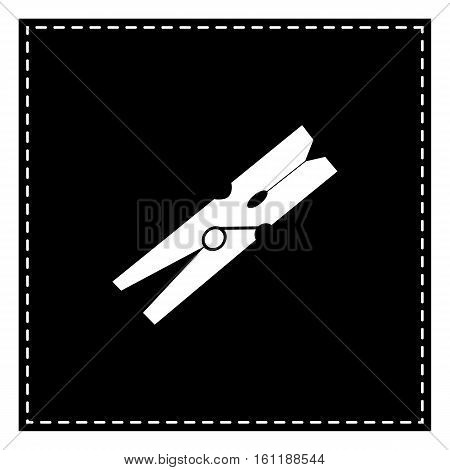 Clothes Peg Sign. Black Patch On White Background. Isolated.