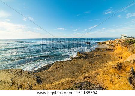 Rocks and sand in La Jolla coastline California