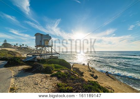 Lifeguard tower in La Jolla in California