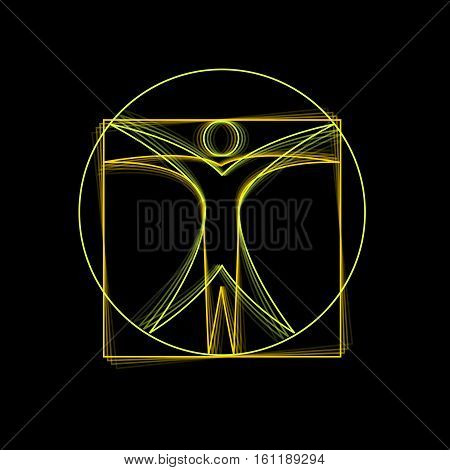 Vector sign Leonardo da Vinci on black background