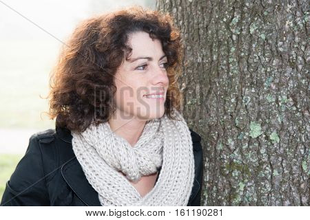 Beautiful Woman Mature Curved In Park, Portrait Pretty