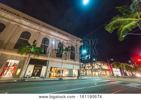 Rodeo Drive in Beverly Hills by night California