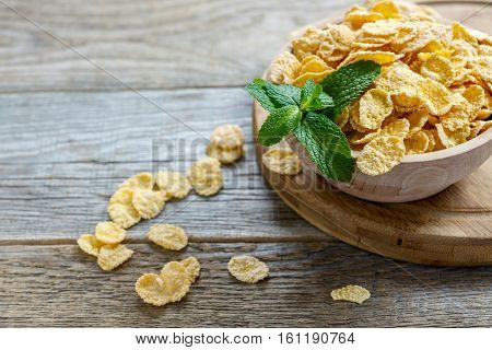 Corn Flakes And Mint In A Bowl For Breakfast.