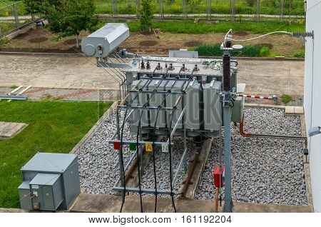Electrical transformer to supply electricity to the industrial zone.