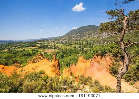 Preserve natural dye production - ocher. South of France, Languedoc - Roussillon