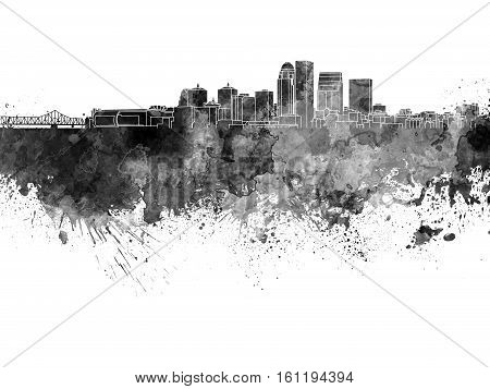 Louisville skyline in artistic abstract black watercolor