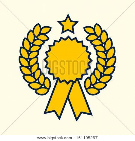 Winner badge symbol golden color design. Vector illustration. Competition win gold seal. Success rosette blank template.