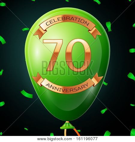 Green balloon with golden inscription seventy years anniversary celebration and golden ribbons, confetti on black background. Vector illustration