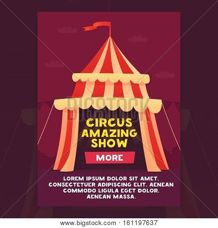 Banner circus amazing show. Banner circus show cartoon style. Vector illustration