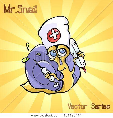 Mr. Snail with medicine. vector illustration EPS10