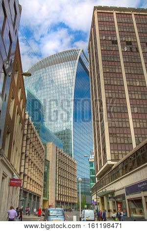 LONDON, UK - 17 may, 2016: Walkie-Talkie office block view with sky reflection. City of London business aria.