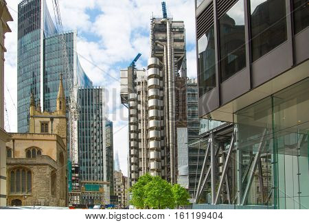 LONDON, UK - 17 May, 2016: Lloyds of London, bank building in the City of London. Modern business life of capital