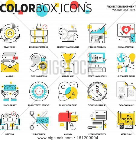 Color Box Icons, Project Development Concept Illustrations, Icons