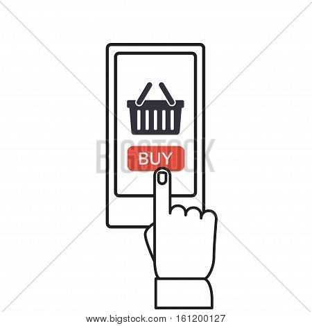 Mobile and online shopping vector illustration. Smartphone shopping in flat style. Mobile shopping using phone isolated on background. Buy mobile shop. Thin line