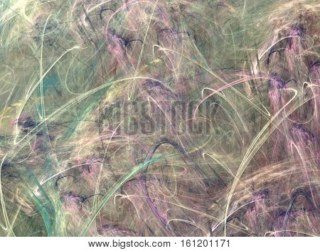 3D Rendering With Abstract Fractal Texture In The Form Of A Green Lilac Crinkly Lines