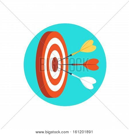 Target marketing icon.Three darts hit the target.