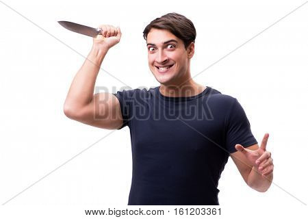 Young mobster with knife isolated on white