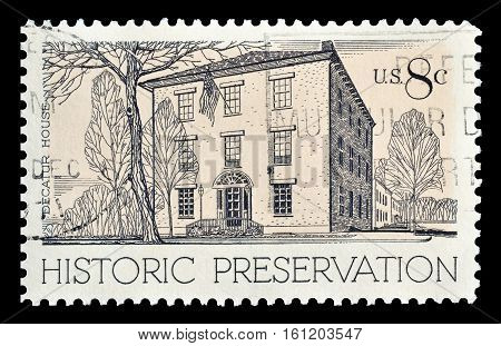 USA - CIRCA 1971 : Cancelled stamp printed by USA, that shows Decatur House in Washington.