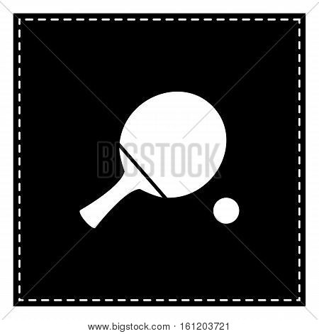 Ping Pong Paddle With Ball. Black Patch On White Background. Iso
