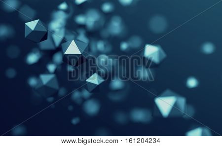 Abstract 3d rendering of chaotic low poly particles. Flying polygonal spheres in empty space. Futuristic background with bokeh effect. Poster design.