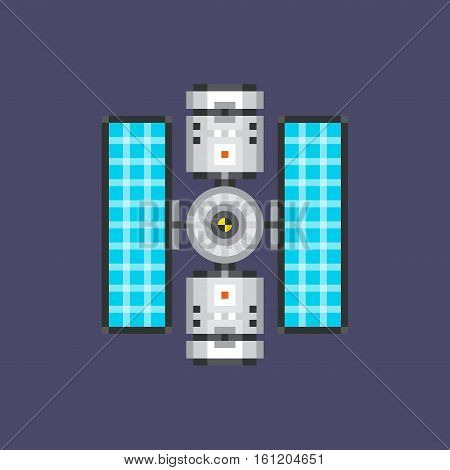 Satellite Flat Icon. Material Design Illustration Concept. Modern Colorful Web Design Graphics. Premium Quality. Pixel Perfect. Bold LineColor Art. Unusual Artwork Isolated on White.