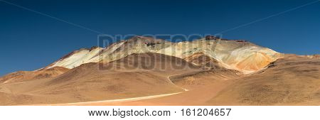 Panorama of the Dali desert mountain Altiplano Bolivia