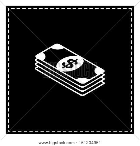 Bank Note Dollar Sign. Black Patch On White Background. Isolated